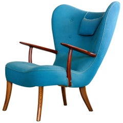 Danish 1950s High Back Lounge Chair Model Pragh by Madsen and Schubell