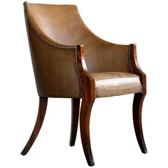 Mahogany and Leather Side or Easy Chair by Frits Henningsen Danish Midcentury