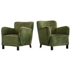 Danish 1940s Mogens Lassen Attributed Pair of Low Lounge Chairs in Mohair Velvet