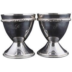 Bohemian Pair of Georg Jensen School Silver Plate Marriage Chalice Cups, P&J
