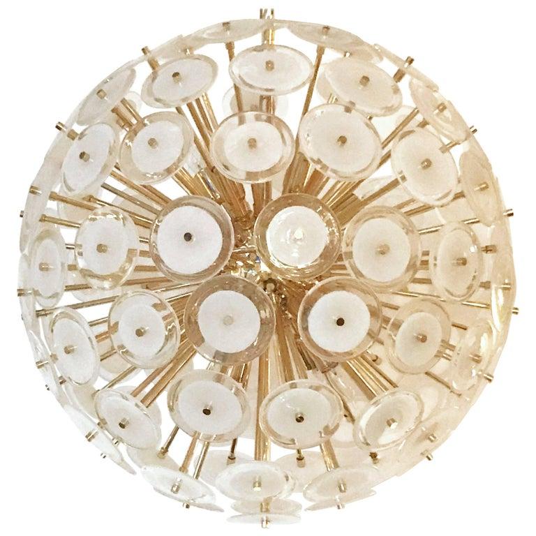 Italian White Murano Disco Gold Sputnik