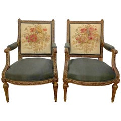 19th Century Louis XVI Style Aubusson Chairs, a Pair