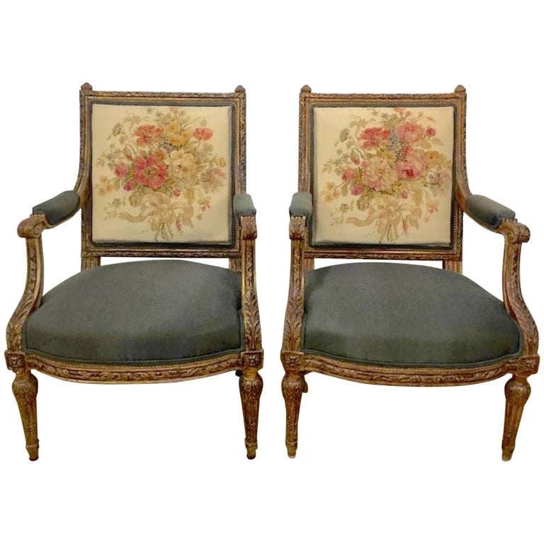 19th Century Louis XVI Style Aubusson Chairs, a Pair