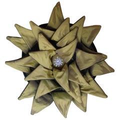 Original Designed Yellow Dahlia Throw Pillow, Unusual Pillow