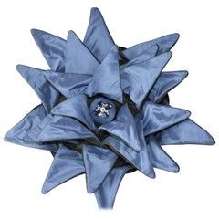 Blue Dahlia Throw Pillow, Unusual Throw Pillow, Blue Silk & Green Velvet Pillow