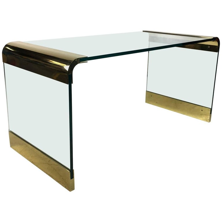 Brass and Glass Waterfall Desk by Pace