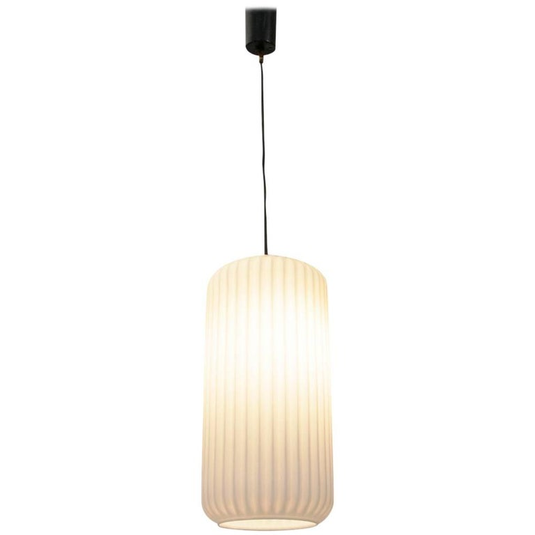 Italian Opaline Pendant Lamp, 1950s