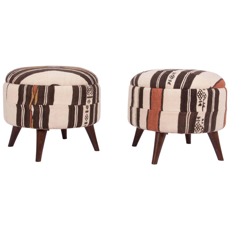 Ottomans of Poufs Upholsered with a Vintage Fulani from Mali Africa