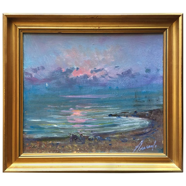 Midcentury Painting Sunrise at Sea, Oil in Canvas by Arnedo Linares, Spain