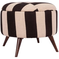 Ottoman, Pouf, Stools Upholstered with a Vintage Cover from Mazandaran