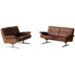Set of Two Vintage Model DS 31 Leather Two-Seat Sofa from De Sede