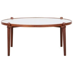 1960s Brown Wood and Etched Metal Coffee Table by Heinz Lilienthal 'f'