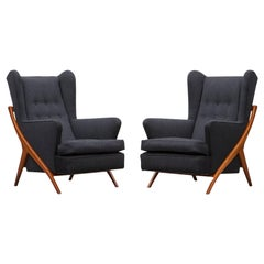 1950s Grey Fabric and Oak Base Lounge Chairs by Mario Gottardi 'New Upholstery'