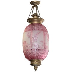 Beautiful Pink Oil Lantern or Pendant Signed by ''Baccarat'', circa 1890s