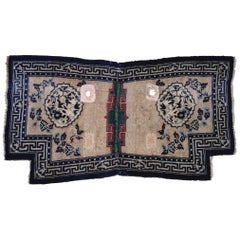 19th Century Tibet Saddle Rug Hand-Knotted Tang Song Decorations Blue White Wool