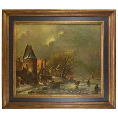 Winter Landscape with Skaters Flemish School 19th Century Painting
