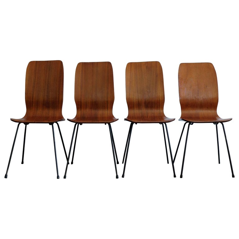 1950s Italian Rosewood Mid-Century Modern Dining Chairs