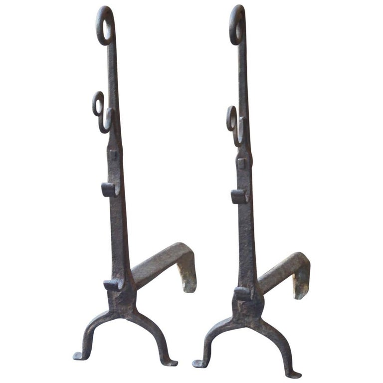 16th Century French Gothic Andirons or Firedogs
