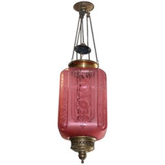 Fine French Pink Oil Lantern or Pendant Signed by ''Baccarat'', circa 1900