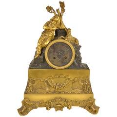 19th Century Patinated and Gilt Bronze Romantic Mantel Clock Sleeping Hunter