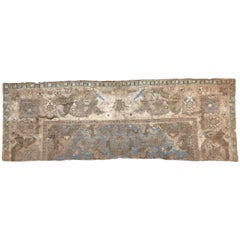 17th Century Blue Gold Wool Silk Gilded Silver Fragment Polonaise Rug, ca 1650s