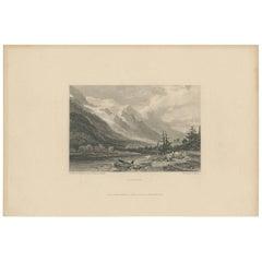 Antique Print of Chamounix, France by E. Finden, circa 1836