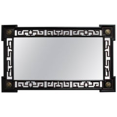 Greek Key Ebonized Chinoiserie Mirror