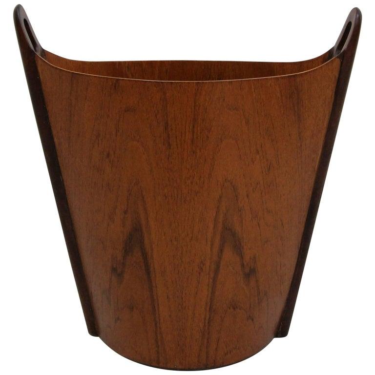 Midcentury Danish Rosewood Wastebasket Trash Bin by Einar Barnes for P.S. Heggen