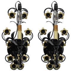 Pair of Tôle Electrified Sconces in Black Lacquer