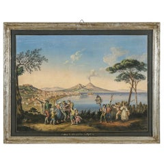 Framed Gouache of the Bay of Naples Signed a Improta, circa 1903