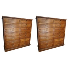 Pair of Antique French Oak Bank Cabinet with Drop Down Doors, 1900