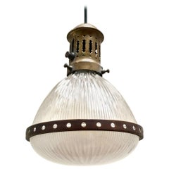 1920s Holophane Pendant Lamp in Striated Glass and Brass