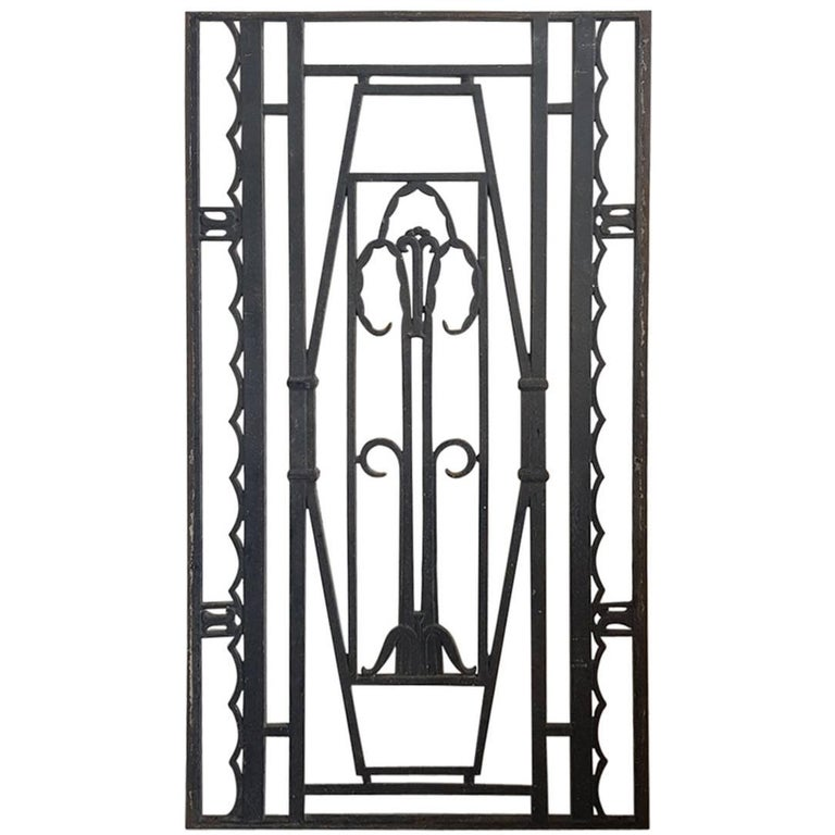 Mid-20th Century French Cast Iron Door Grill