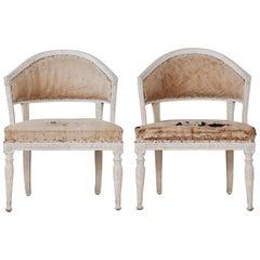 Pair of Gustavian Barrel Back Armchairs