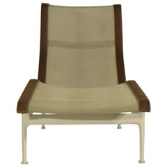 Richard Schultz 1966 White Mesh Brown Strap Contour Chaise Knoll International