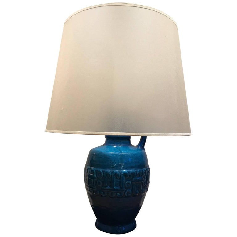 Turquoise Amphora Shaped Table Lamp, 1970s