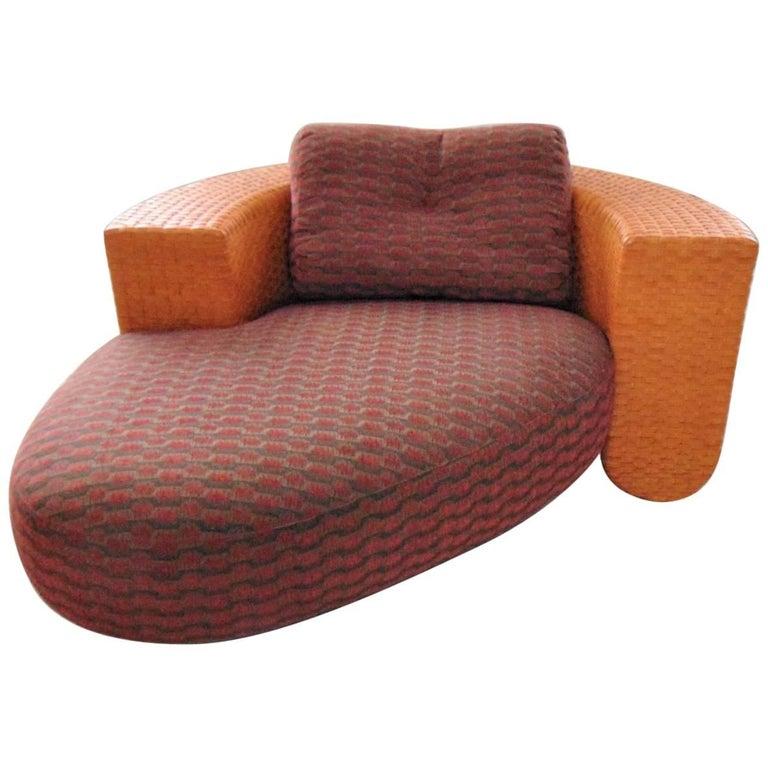 1990s Chaise Longue Tangerine Leather Red Fabric Studio Visette, Bonacina, Italy