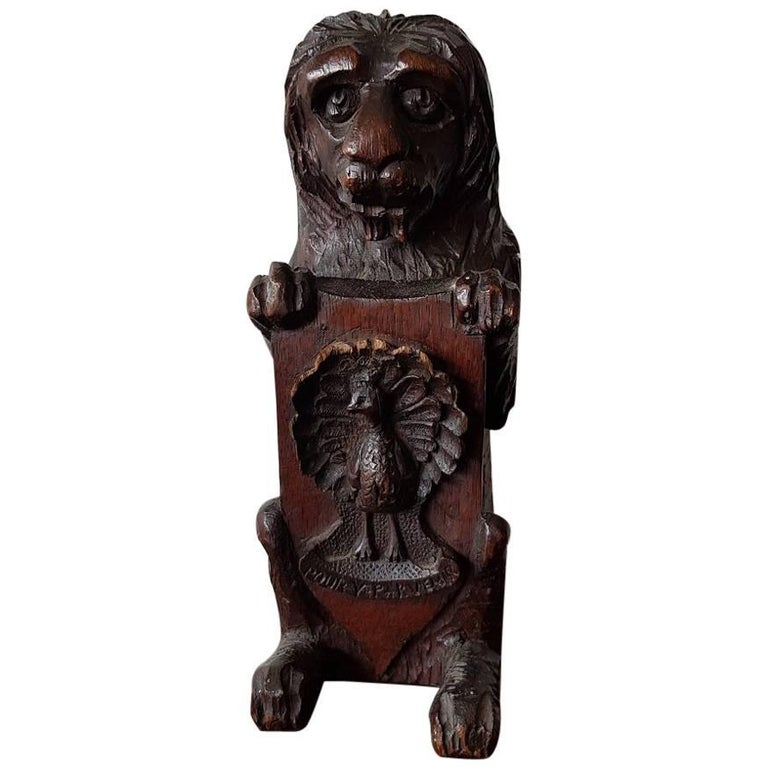 19th Century French Carved Wooden Lion