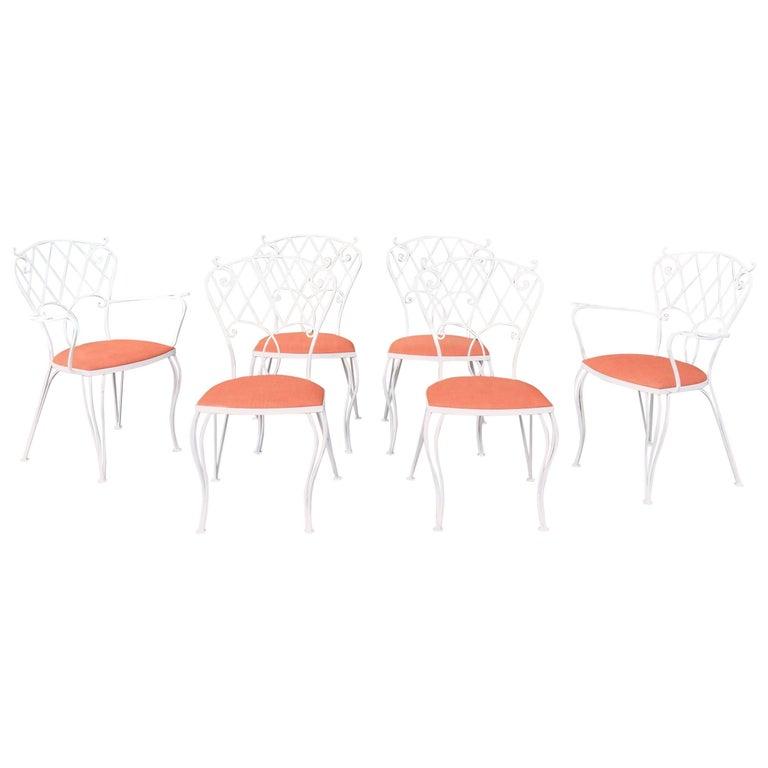 Mid Century Wrought Iron Patio Garden Dining Chair Set
