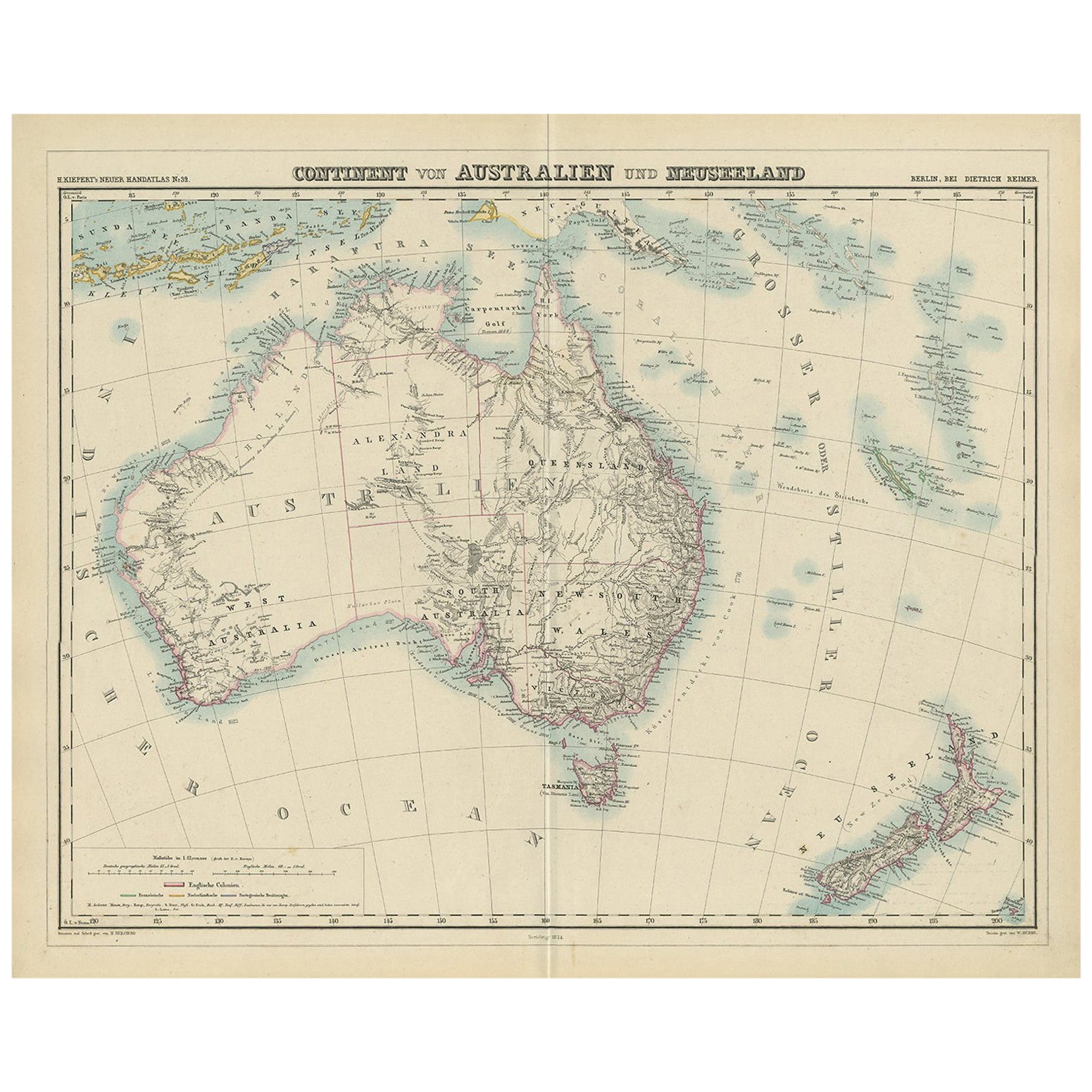 Map Of New Zealand Australia.Antique Map Of Australia And New Zealand By H Kiepert 1874