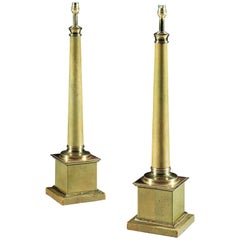 Pair of Mid-20th Century Brass-Mounted Leather Column Lamps