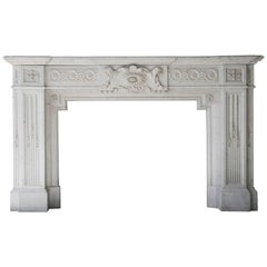 Unique Fireplace of Carrara Marble in Neoclassical Style from the 19th Century