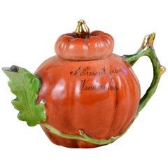 1900s Edwardian Porcelain Pumpkin Shaped Souvenir Teapot Made in England