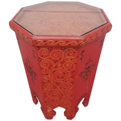 Large Hexagonal Moroccan Hand-Painted Side Table, Red