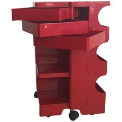 1970s Red Plastic Boby Cart Work Station by Joe Colombo