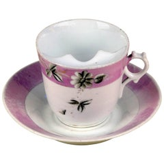 1900s German Porcelain Mustache Cup in White with a Antique Pink Lustre Band