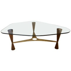 Dunbar Style Walnut, Brass and Glass Shaped Cocktail Table, Pair Available