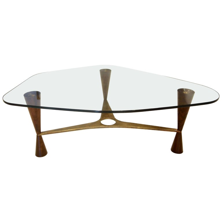 Dunbar Style Walnut, Brass and Glass Shaped Cocktail Table, Pair Available For Sale