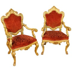 Pair of Venetian Armchairs in Lacquered and Giltwood from 20th Century