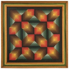Op Art Handwoven Geometric Woolen Tapestry, circa 1960s